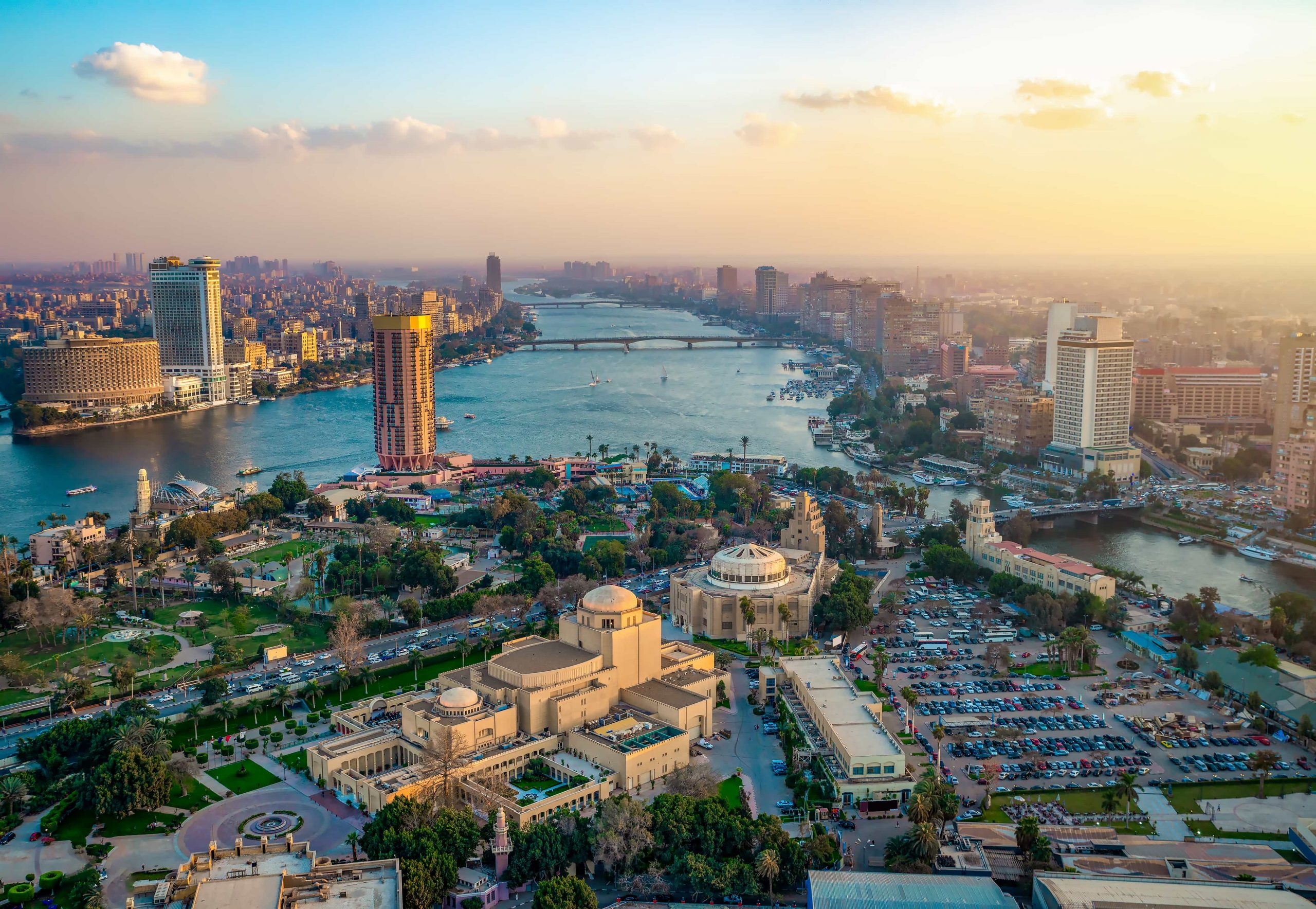 Panorama of Cairo cityscape taken during the sunset from the famous Cairo tower, Cairo, Egypt | merveilleuse egypte